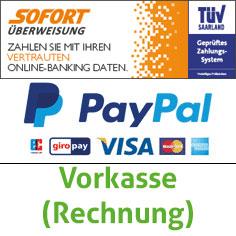 Paypal, Sofortüberweisung.de, Vorkasse, (Rechnung)